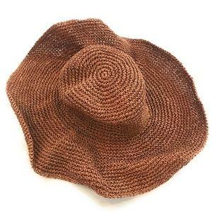 Old Navy Womens Brown Sparkle Floppy Beach Hat
